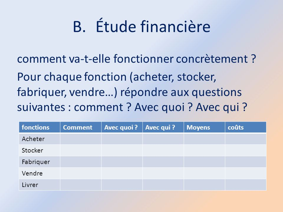 B.Étude financière comment va-t-elle fonctionner concrètement ? Pour chaque fonction (acheter, stocker, fabriquer, vendre…) répondre aux questions sui