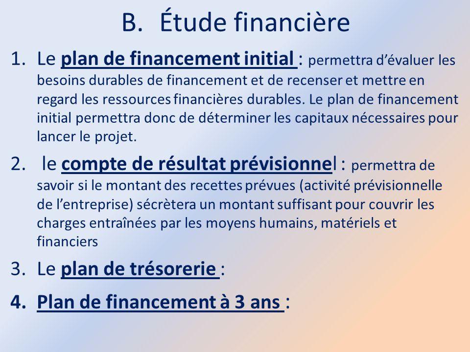 B.Étude financière 1.Le plan de financement initial : permettra d'évaluer les besoins durables de financement et de recenser et mettre en regard les r