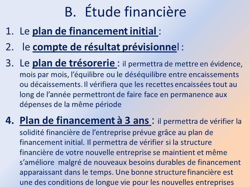 B.Étude financière 1.Le plan de financement initial : 2. le compte de résultat prévisionnel : 3.Le plan de trésorerie : il permettra de mettre en évid