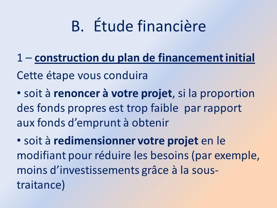 B.Étude financière 1 – construction du plan de financement initial Cette étape vous conduira soit à renoncer à votre projet, si la proportion des fond