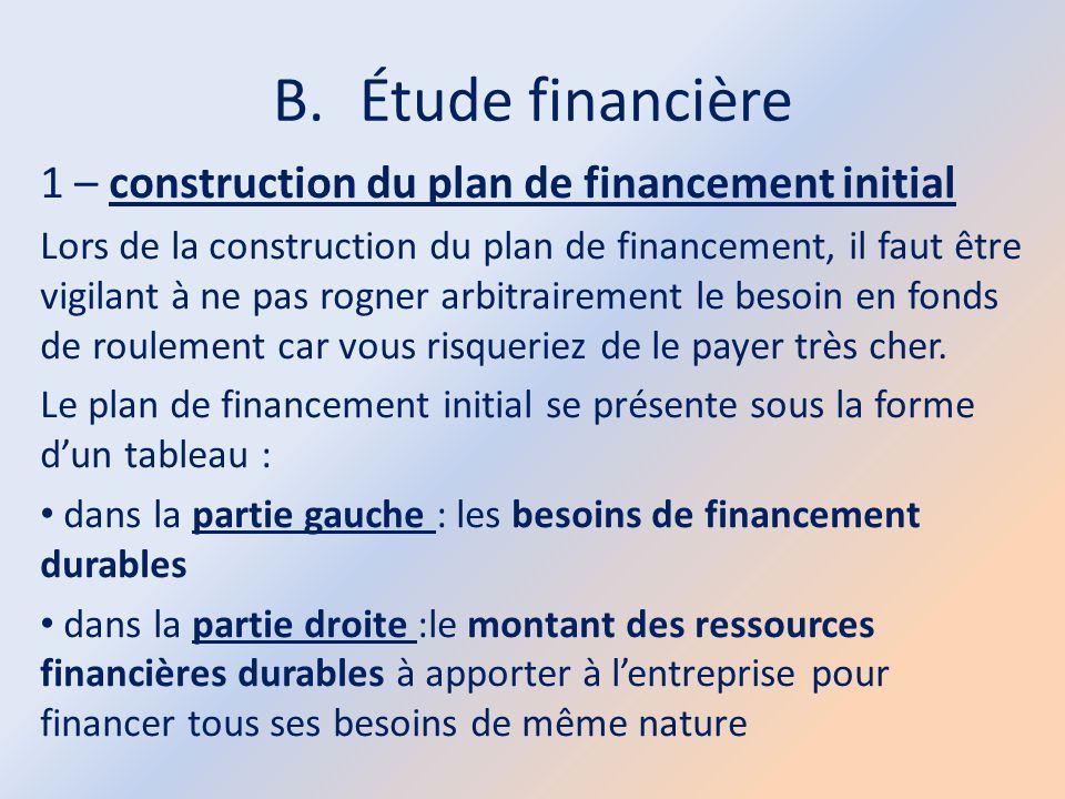 B.Étude financière 1 – construction du plan de financement initial Lors de la construction du plan de financement, il faut être vigilant à ne pas rogn