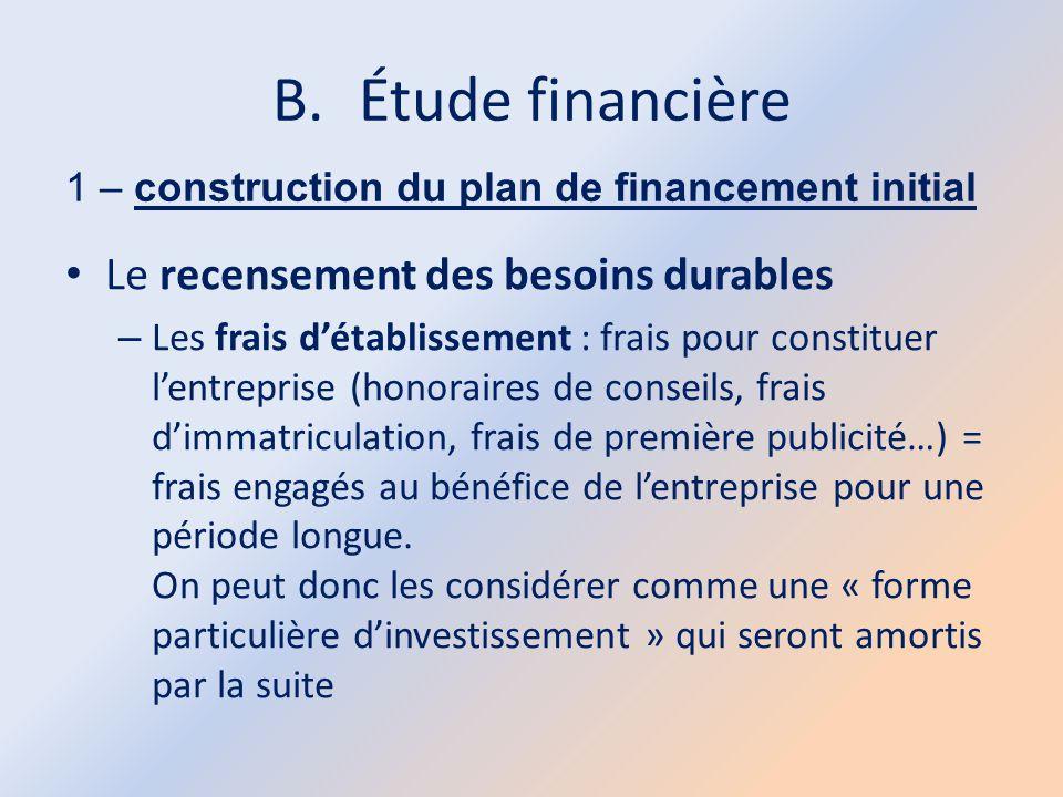 B.Étude financière 1 – construction du plan de financement initial Le recensement des besoins durables – Les frais d'établissement : frais pour consti
