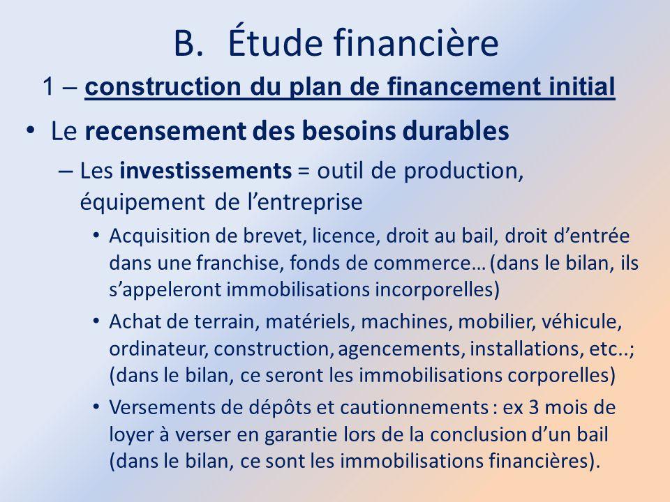 B.Étude financière 1 – construction du plan de financement initial Le recensement des besoins durables – Les investissements = outil de production, éq