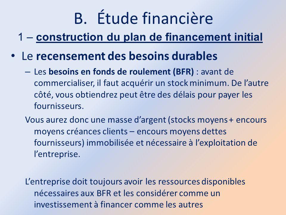 B.Étude financière 1 – construction du plan de financement initial Le recensement des besoins durables – Les besoins en fonds de roulement (BFR) : ava
