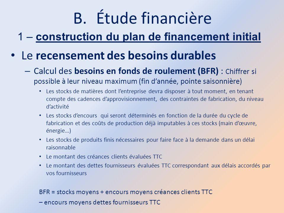 B.Étude financière 1 – construction du plan de financement initial Le recensement des besoins durables – Calcul des besoins en fonds de roulement (BFR