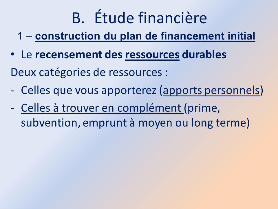 B.Étude financière 1 – construction du plan de financement initial Le recensement des ressources durables Deux catégories de ressources : -Celles que