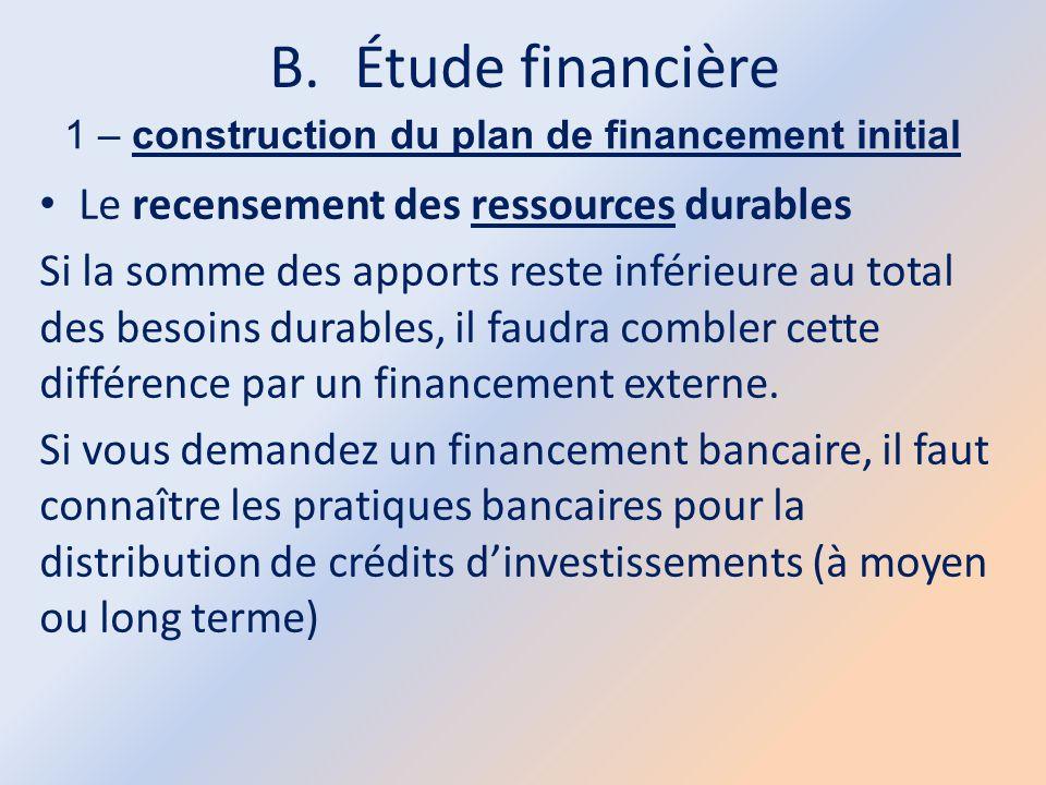 B.Étude financière 1 – construction du plan de financement initial Le recensement des ressources durables Si la somme des apports reste inférieure au