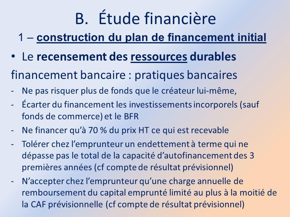 B.Étude financière 1 – construction du plan de financement initial Le recensement des ressources durables financement bancaire : pratiques bancaires -