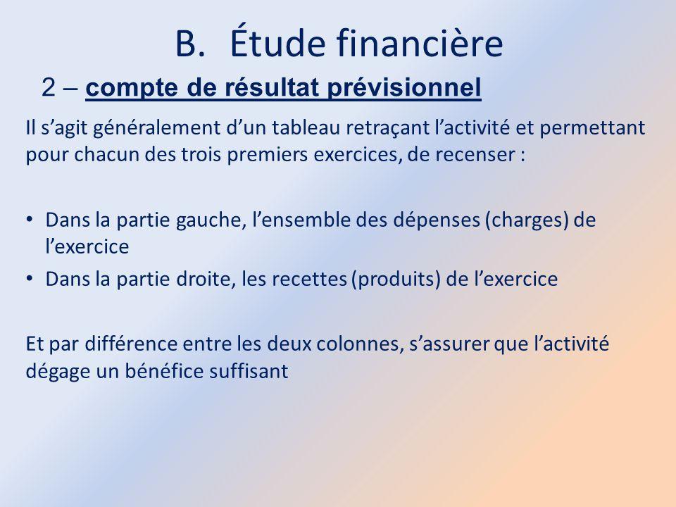 B.Étude financière 2 – compte de résultat prévisionnel Il s'agit généralement d'un tableau retraçant l'activité et permettant pour chacun des trois pr