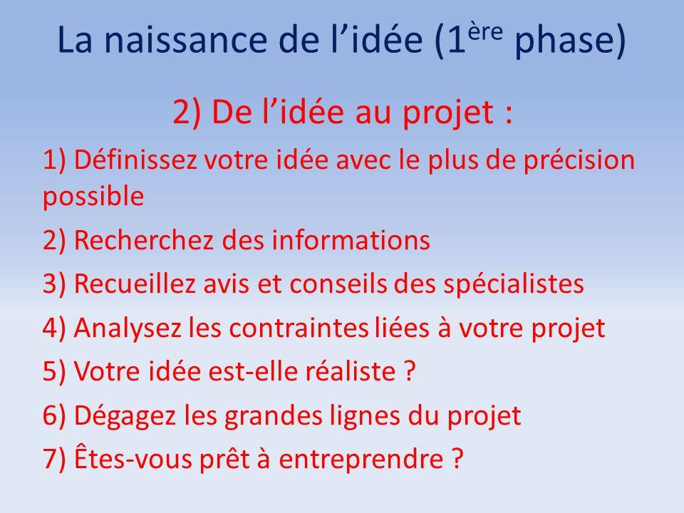 La naissance de l'idée (1 ère phase) 2) De l'idée au projet : 1) Définissez votre idée avec le plus de précision possible 2) Recherchez des informatio