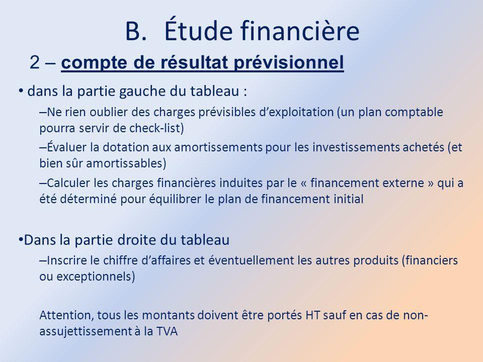 B.Étude financière 2 – compte de résultat prévisionnel dans la partie gauche du tableau : – Ne rien oublier des charges prévisibles d'exploitation (un