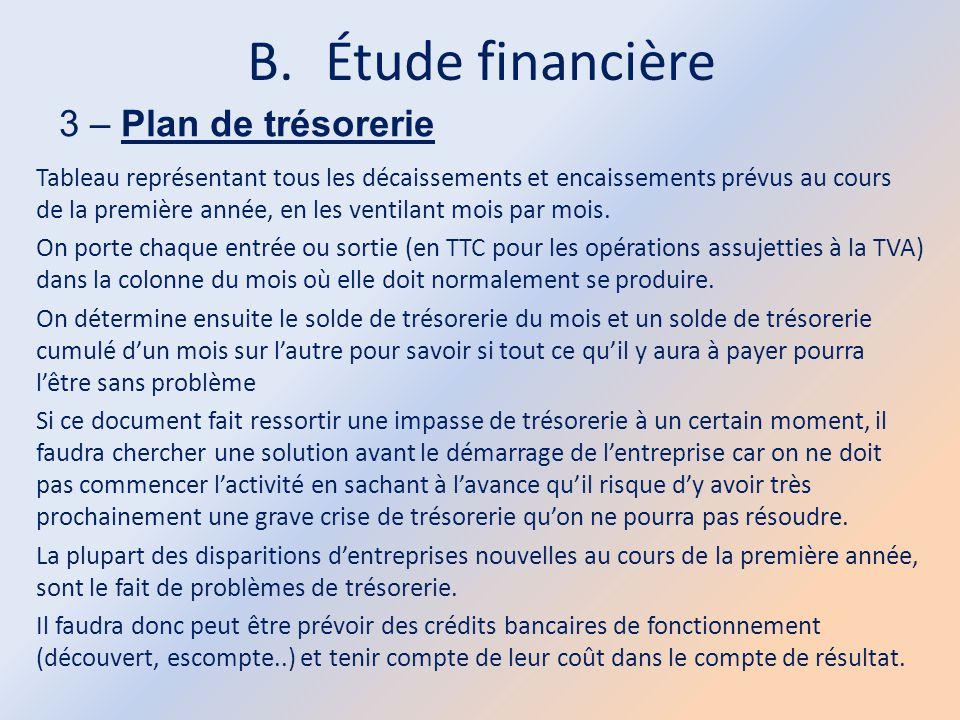 B.Étude financière 3 – Plan de trésorerie Tableau représentant tous les décaissements et encaissements prévus au cours de la première année, en les ve