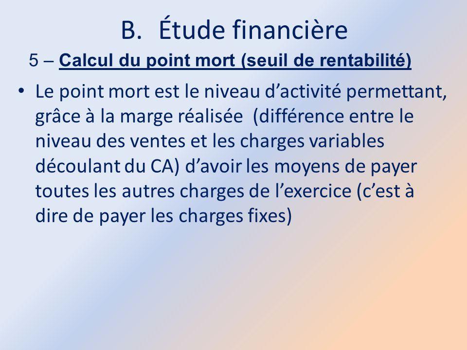 B.Étude financière 5 – Calcul du point mort (seuil de rentabilité) Le point mort est le niveau d'activité permettant, grâce à la marge réalisée (diffé