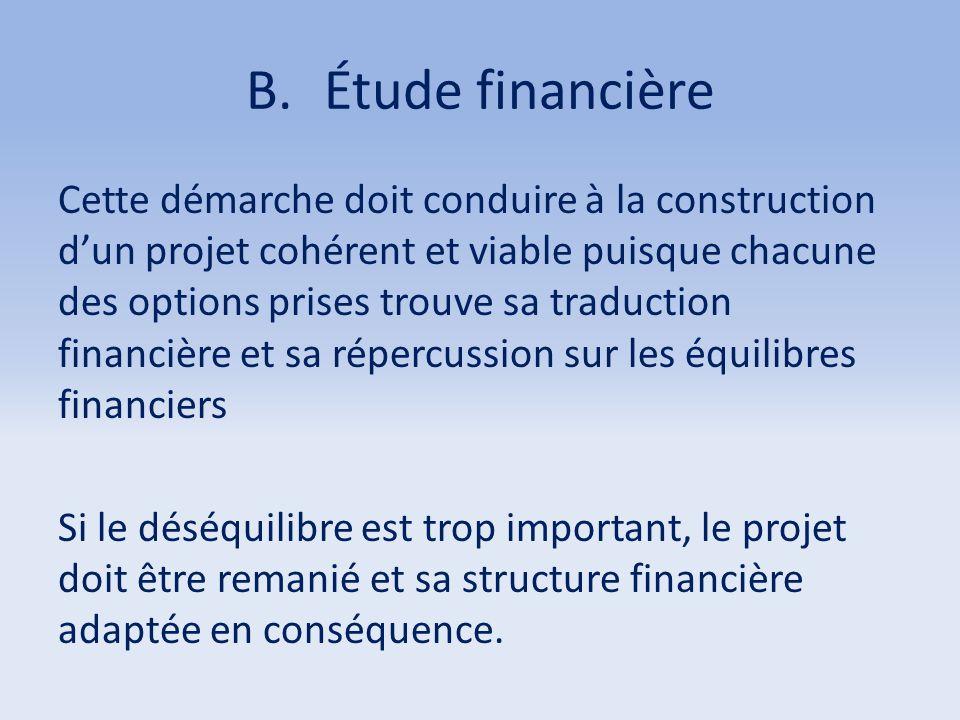 B.Étude financière Cette démarche doit conduire à la construction d'un projet cohérent et viable puisque chacune des options prises trouve sa traducti