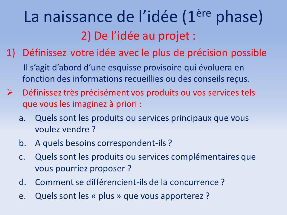 La naissance de l'idée (1 ère phase) 2) De l'idée au projet : 1)Définissez votre idée avec le plus de précision possible Il s'agit d'abord d'une esqui