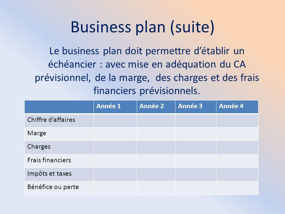 Business plan (suite) Le business plan doit permettre d'établir un échéancier : avec mise en adéquation du CA prévisionnel, de la marge, des charges e