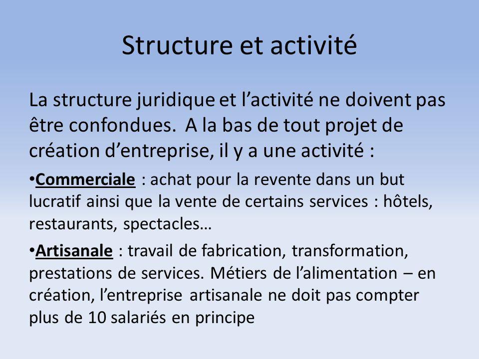 Structure et activité La structure juridique et l'activité ne doivent pas être confondues. A la bas de tout projet de création d'entreprise, il y a un