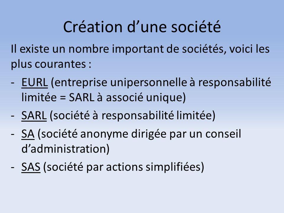 Création d'une société Il existe un nombre important de sociétés, voici les plus courantes : -EURL (entreprise unipersonnelle à responsabilité limitée