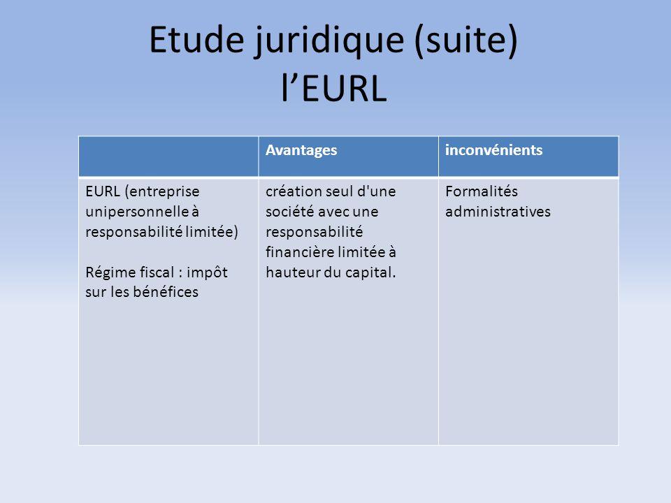 Etude juridique (suite) l'EURL Avantagesinconvénients EURL (entreprise unipersonnelle à responsabilité limitée) Régime fiscal : impôt sur les bénéfice