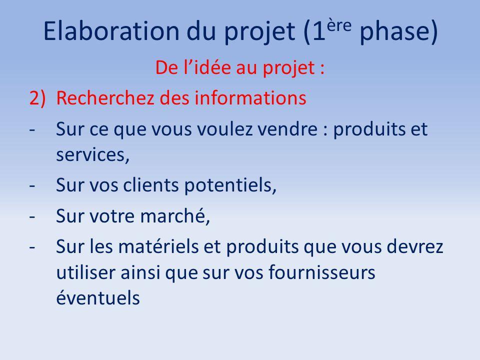 Elaboration du projet (1 ère phase) De l'idée au projet : 2)Recherchez des informations -Sur ce que vous voulez vendre : produits et services, -Sur vo