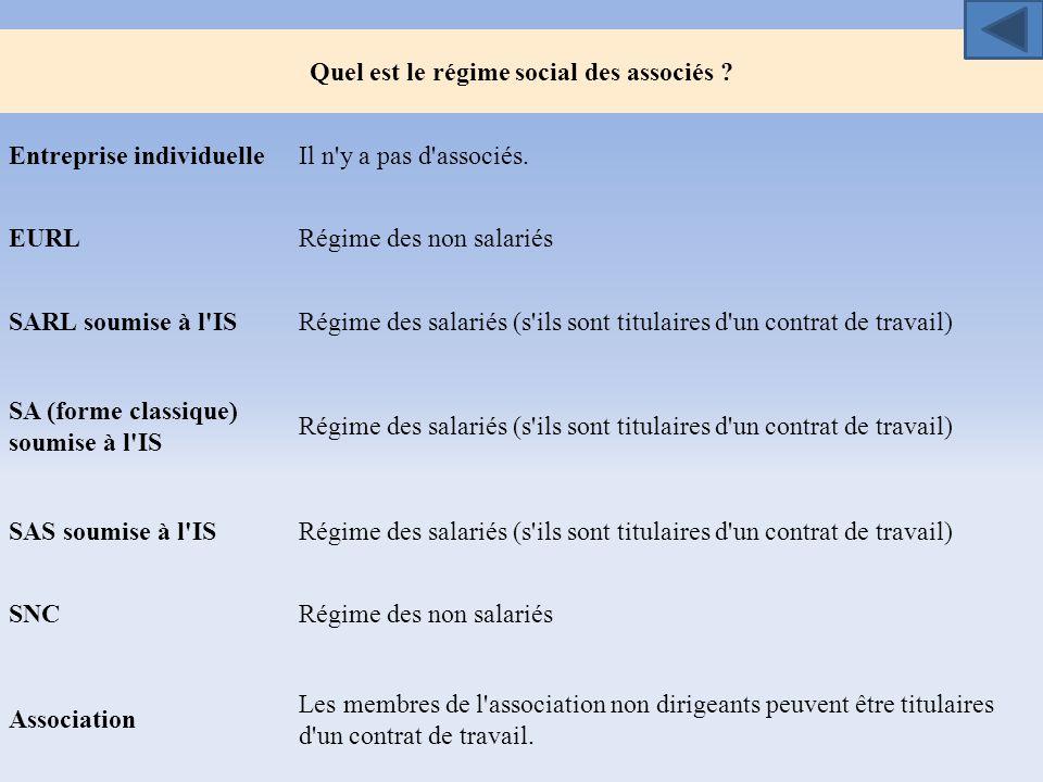 Quel est le régime social des associés ? Entreprise individuelleIl n'y a pas d'associés. EURLRégime des non salariés SARL soumise à l'ISRégime des sal