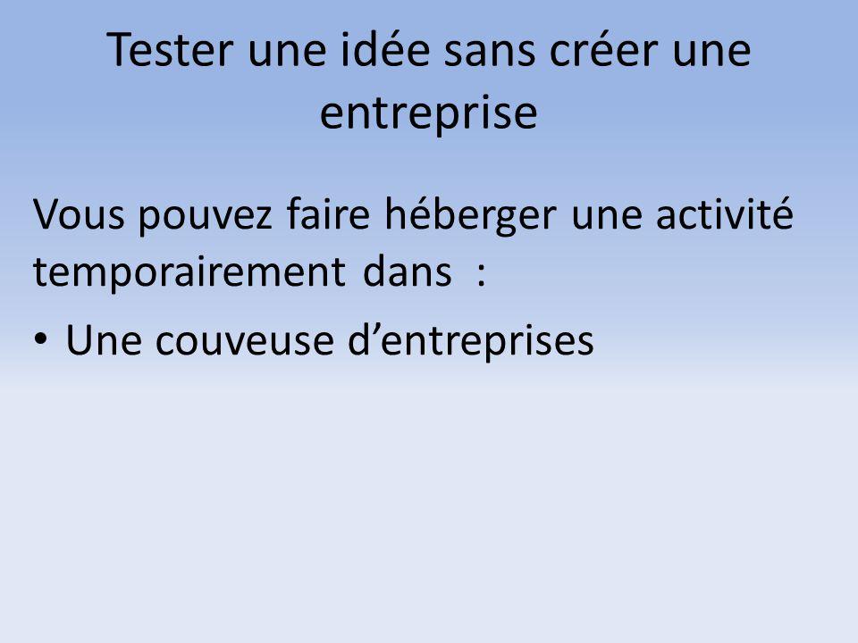 Tester une idée sans créer une entreprise Vous pouvez faire héberger une activité temporairement dans : Une couveuse d'entreprises