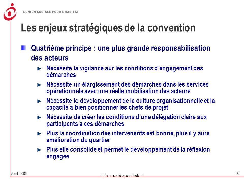 Avril 2006 L'Union sociale pour l'habitat 18 Les enjeux stratégiques de la convention Quatrième principe : une plus grande responsabilisation des acte
