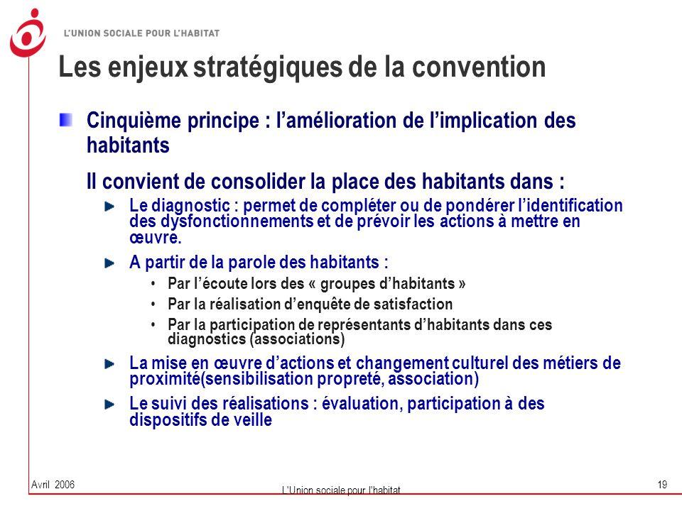 Avril 2006 L'Union sociale pour l'habitat 19 Les enjeux stratégiques de la convention Cinquième principe : l'amélioration de l'implication des habitan