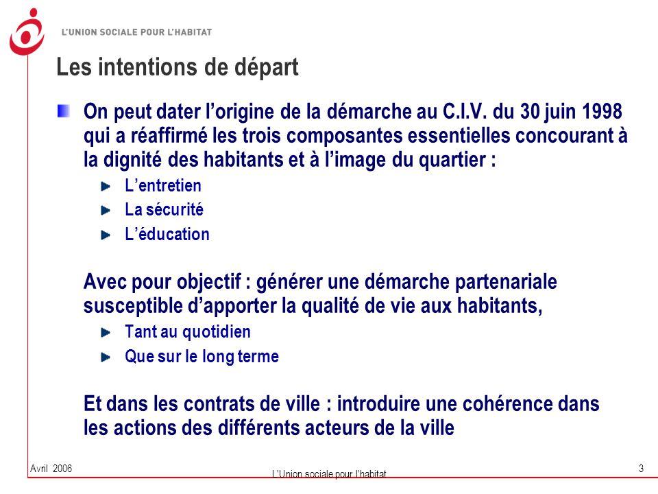 Avril 2006 L'Union sociale pour l'habitat 3 Les intentions de départ On peut dater l'origine de la démarche au C.I.V. du 30 juin 1998 qui a réaffirmé