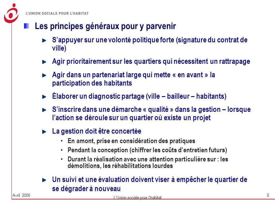 Avril 2006 L'Union sociale pour l'habitat 5 Les principes généraux pour y parvenir S'appuyer sur une volonté politique forte (signature du contrat de