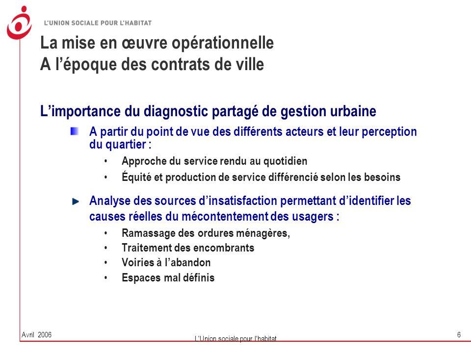 Avril 2006 L'Union sociale pour l'habitat 6 La mise en œuvre opérationnelle A l'époque des contrats de ville L'importance du diagnostic partagé de ges
