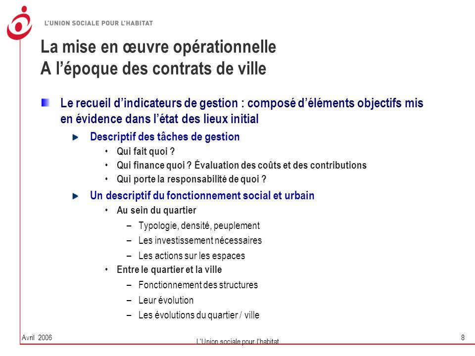 Avril 2006 L'Union sociale pour l'habitat 8 La mise en œuvre opérationnelle A l'époque des contrats de ville Le recueil d'indicateurs de gestion : com