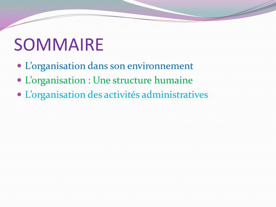 SOMMAIRE L'organisation dans son environnement L'organisation : Une structure humaine L'organisation des activités administratives