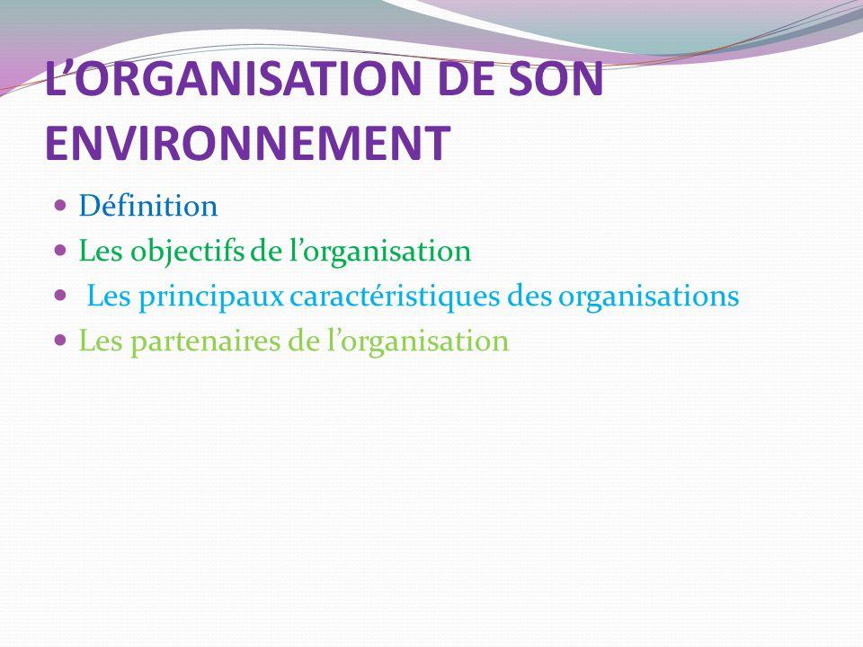 L'ORGANISATION DE SON ENVIRONNEMENT Définition Les objectifs de l'organisation Les principaux caractéristiques des organisations Les partenaires de l'organisation
