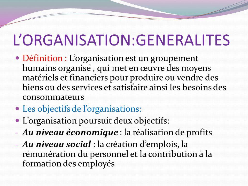 L'ORGANISATION:GENERALITES Définition : L'organisation est un groupement humains organisé, qui met en œuvre des moyens matériels et financiers pour produire ou vendre des biens ou des services et satisfaire ainsi les besoins des consommateurs Les objectifs de l'organisations: L'organisation poursuit deux objectifs: - Au niveau économique : la réalisation de profits - Au niveau social : la création d'emplois, la rémunération du personnel et la contribution à la formation des employés
