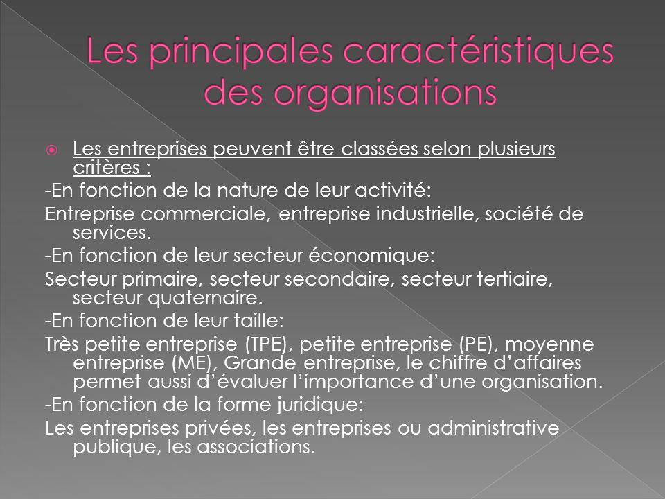  Les entreprises peuvent être classées selon plusieurs critères : -En fonction de la nature de leur activité: Entreprise commerciale, entreprise industrielle, société de services.