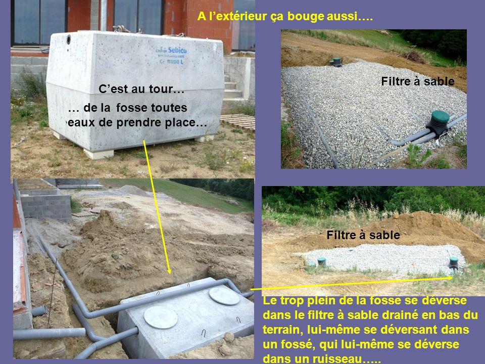 … de lafosse toutes eaux de prendre place… C'est au tour… Le trop plein de la fosse se déverse dans le filtre à sable drainé en bas du terrain, lui-même se déversant dans un fossé, qui lui-même se déverse dans un ruisseau…..