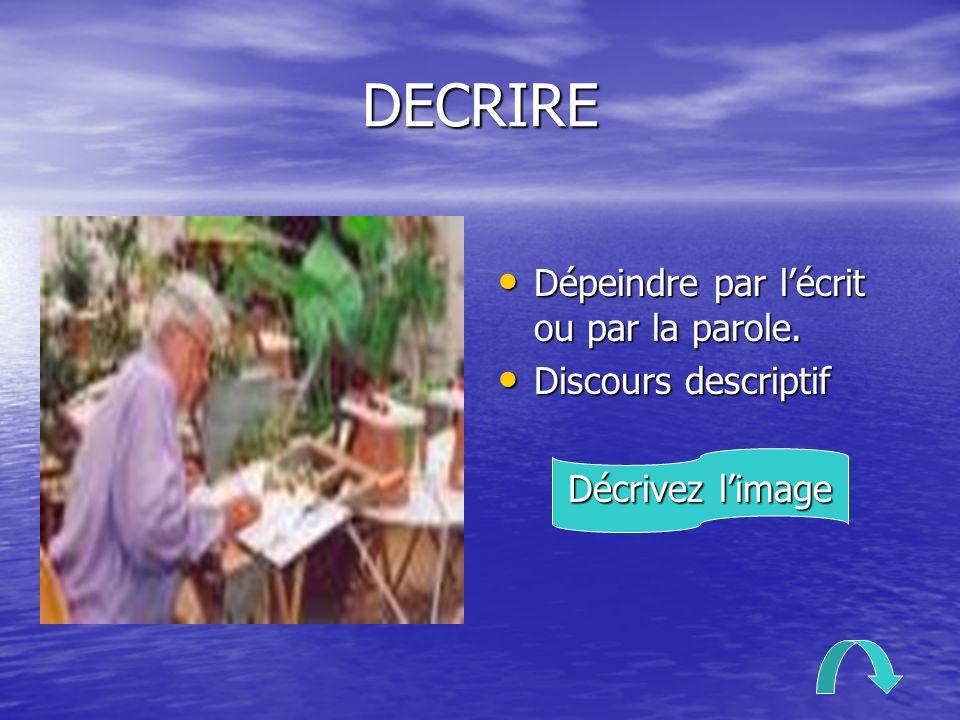 DECRIRE Dépeindre par l'écrit ou par la parole. Dépeindre par l'écrit ou par la parole. Discours descriptif Discours descriptif Décrivez l'image