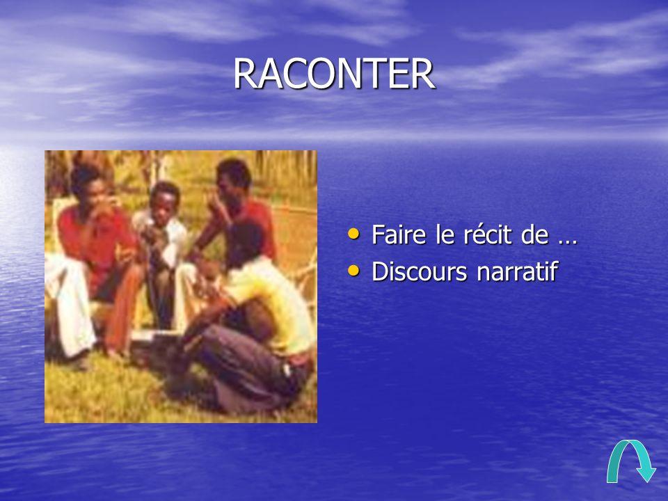 RACONTER Faire le récit de … Faire le récit de … Discours narratif Discours narratif