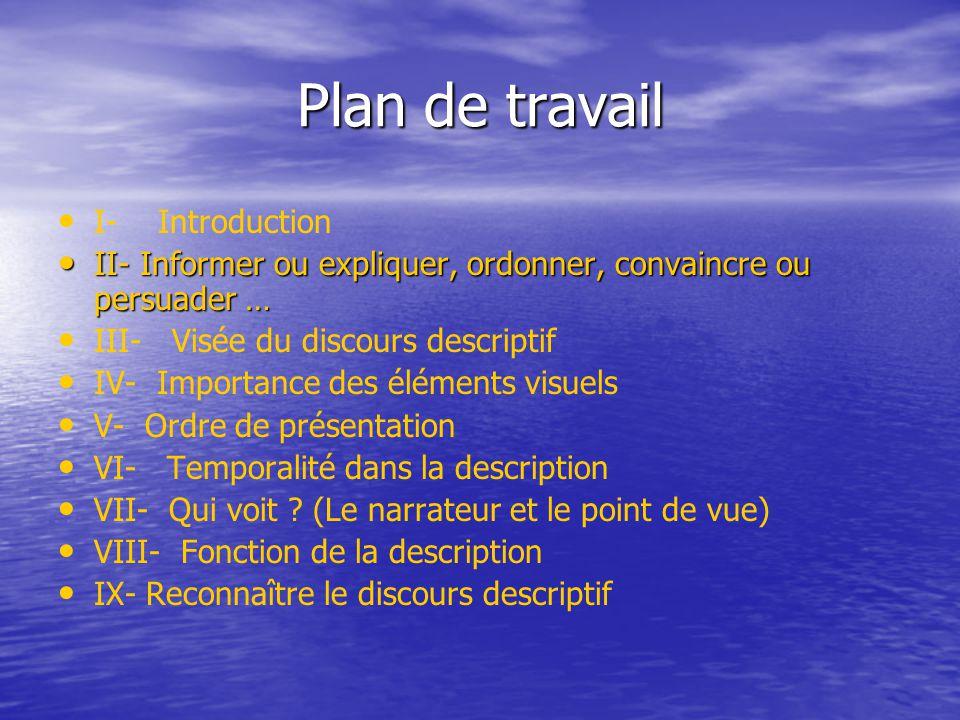 Plan de travail I- Introduction II- Informer ou expliquer, ordonner, convaincre ou persuader … II- Informer ou expliquer, ordonner, convaincre ou pers