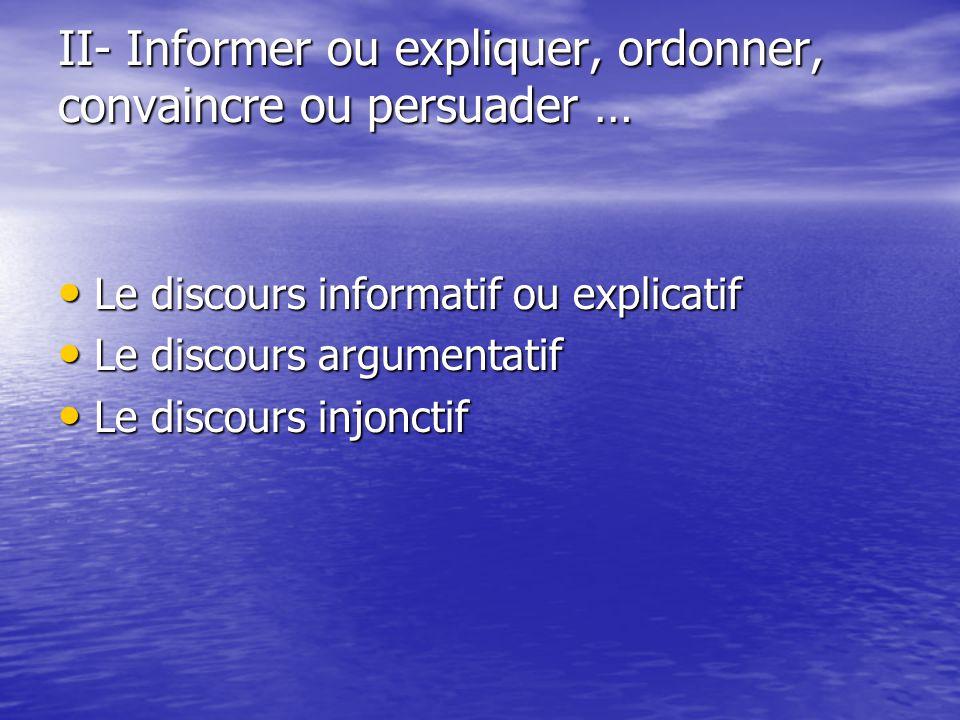 II- Informer ou expliquer, ordonner, convaincre ou persuader … Le discours informatif ou explicatif Le discours informatif ou explicatif Le discours a