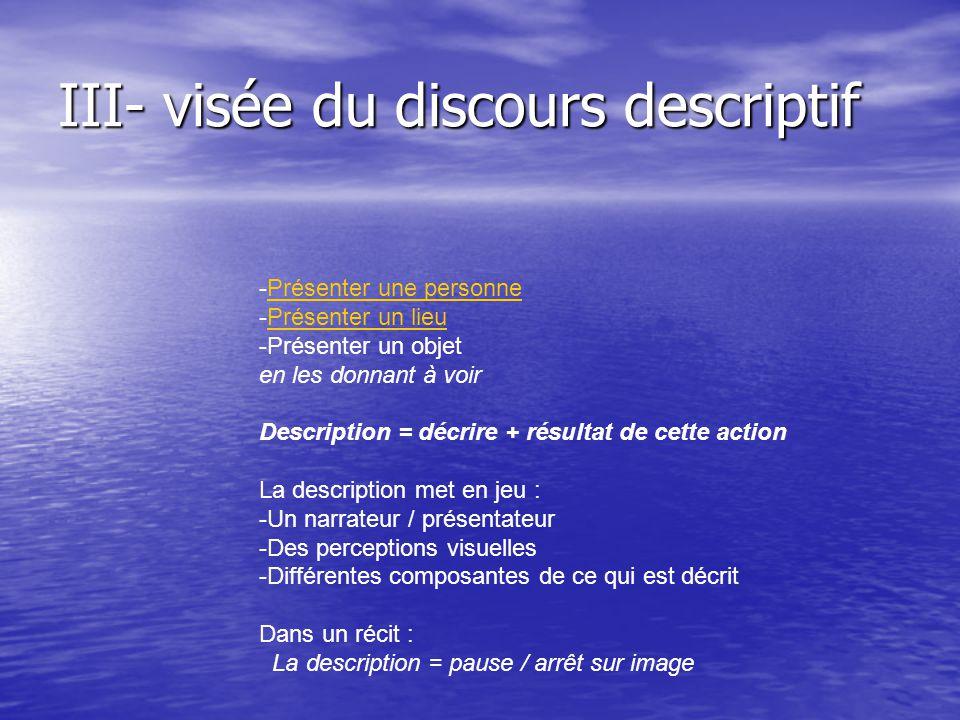 III- visée du discours descriptif -Présenter une personnePrésenter une personne -Présenter un lieuPrésenter un lieu -Présenter un objet en les donnant