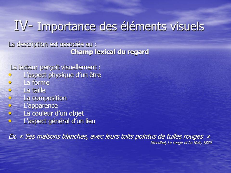 IV- Importance des éléments visuels La description est associée au : Champ lexical du regard Le lecteur perçoit visuellement : Le lecteur perçoit visu