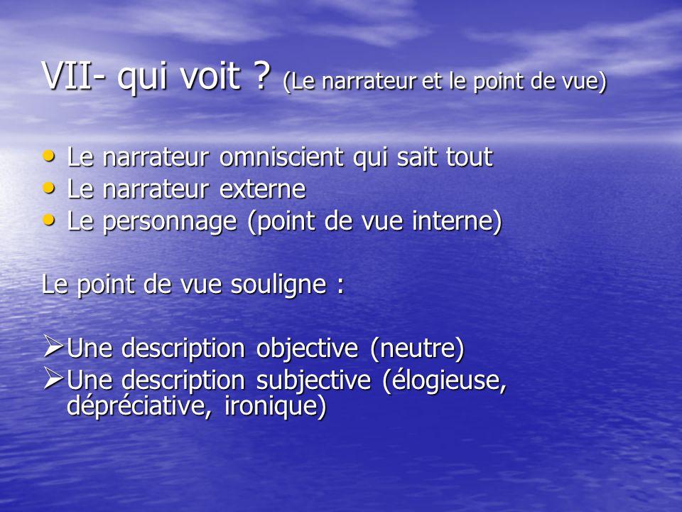 VII- qui voit ? (Le narrateur et le point de vue) Le narrateur omniscient qui sait tout Le narrateur omniscient qui sait tout Le narrateur externe Le