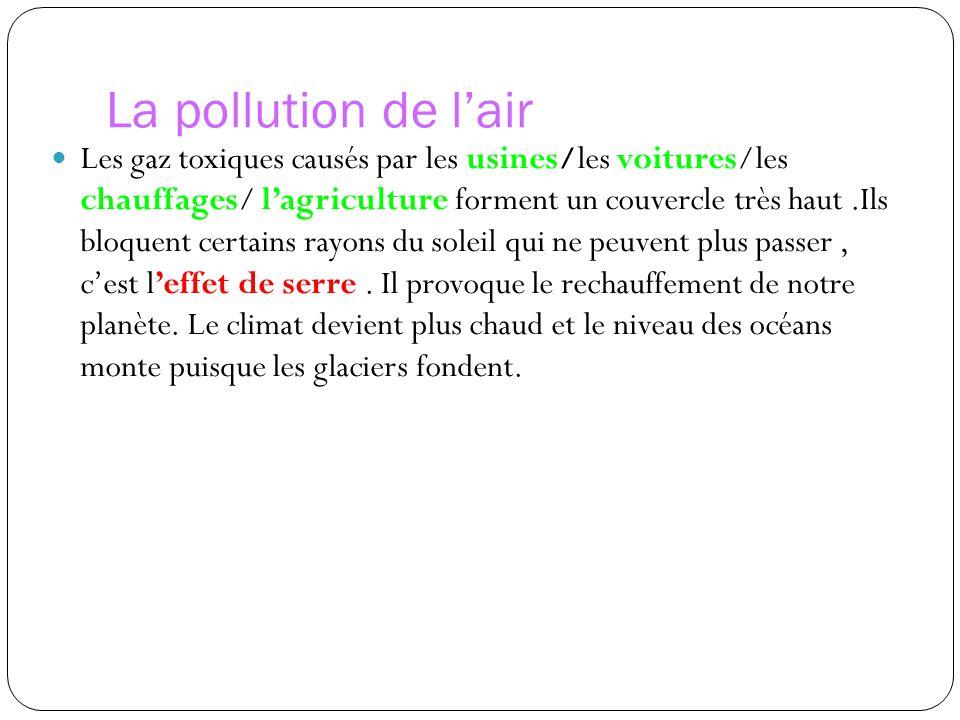 La pollution de l'air Les gaz toxiques causés par les usines/les voitures/les chauffages/ l'agriculture forment un couvercle très haut.Ils bloquent certains rayons du soleil qui ne peuvent plus passer, c'est l'effet de serre.