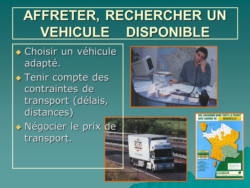 AFFRETER, RECHERCHER UN VEHICULE DISPONIBLE  Choisir un véhicule adapté.