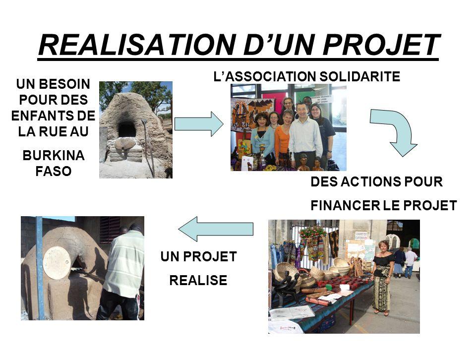 REALISATION D'UN PROJET UN BESOIN POUR DES ENFANTS DE LA RUE AU BURKINA FASO L'ASSOCIATION SOLIDARITE DES ACTIONS POUR FINANCER LE PROJET UN PROJET REALISE