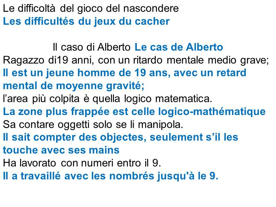 Le difficoltà del gioco del nascondere Les difficultés du jeux du cacher Il caso di Alberto Le cas de Alberto Ragazzo di19 anni, con un ritardo mentale medio grave; Il est un jeune homme de 19 ans, avec un retard mental de moyenne gravité; l'area più colpita è quella logico matematica.