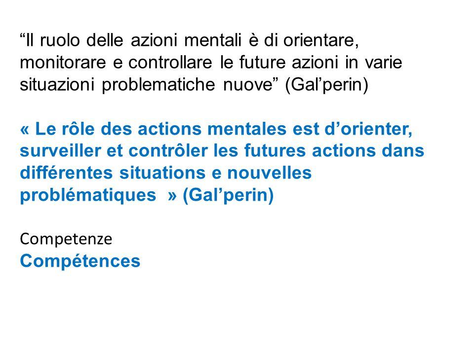Il ruolo delle azioni mentali è di orientare, monitorare e controllare le future azioni in varie situazioni problematiche nuove (Gal'perin) « Le rôle des actions mentales est d'orienter, surveiller et contrôler les futures actions dans différentes situations e nouvelles problématiques » (Gal'perin) Competenze Compétences