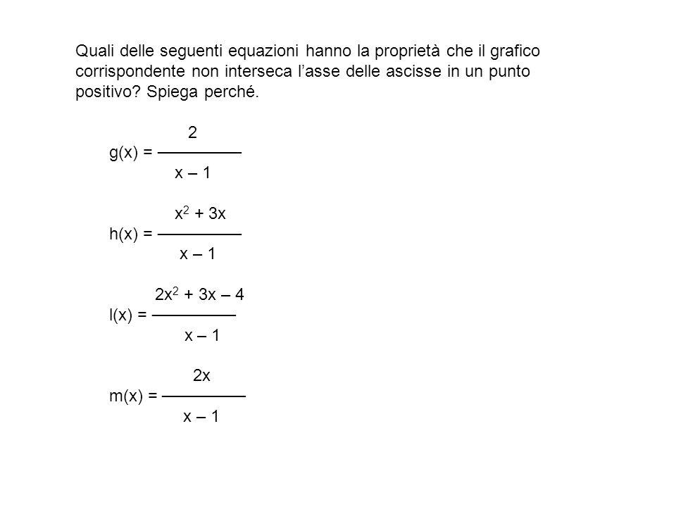 Quali delle seguenti equazioni hanno la proprietà che il grafico corrispondente non interseca l'asse delle ascisse in un punto positivo.